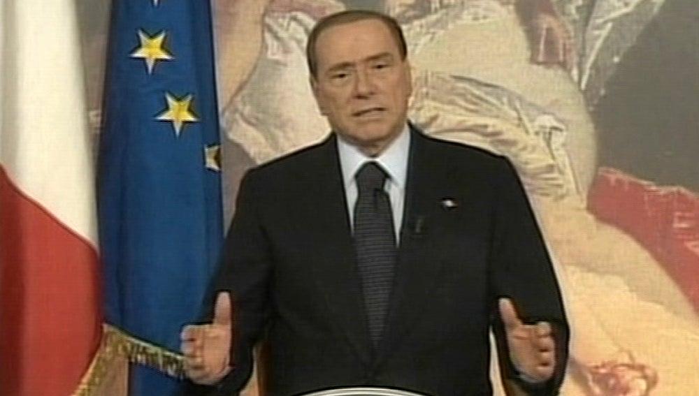 Silvio Berlusconi, en una comparecencia pública