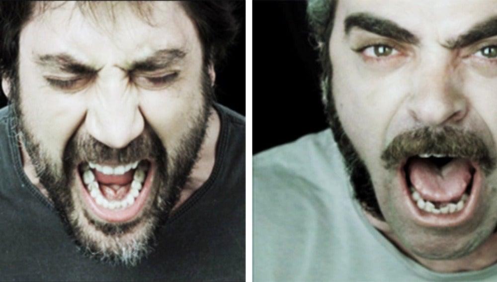 Los actores Javier Bardem y Luis Tosar gritan contra el dolor.