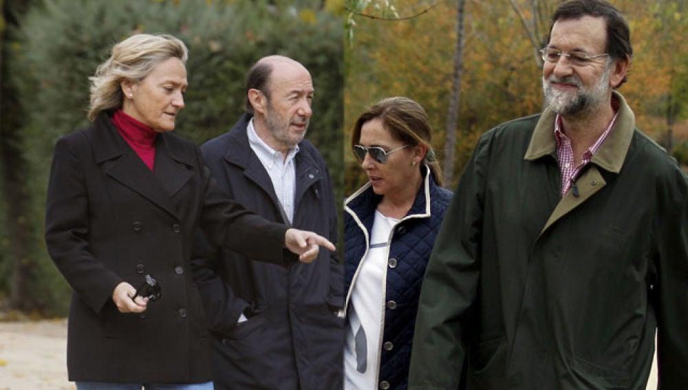 Rubalcaba y Rajoy con sus esposas
