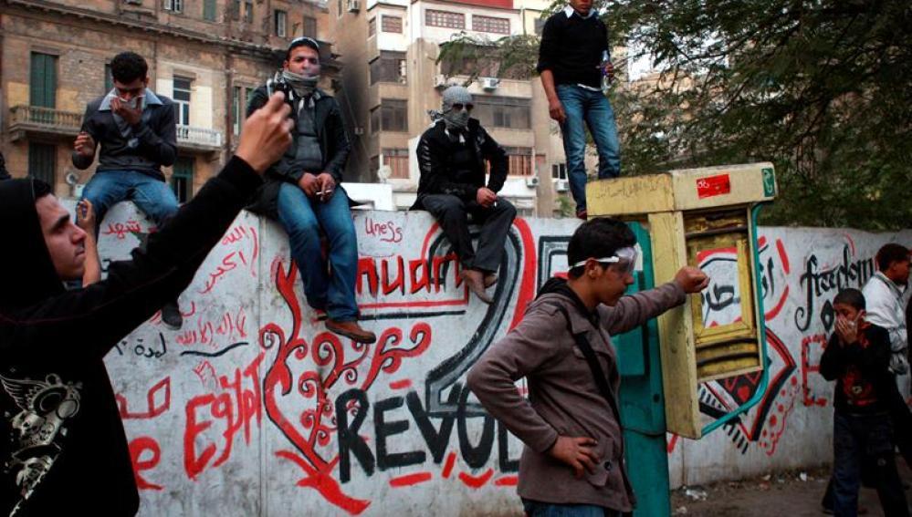 Manifestantes en El Cairo