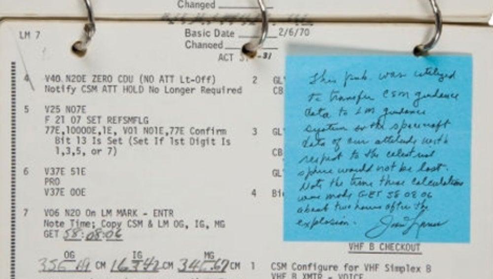 Subastan el cuaderno que salvó del desastre a los astronautas del Apollo 13