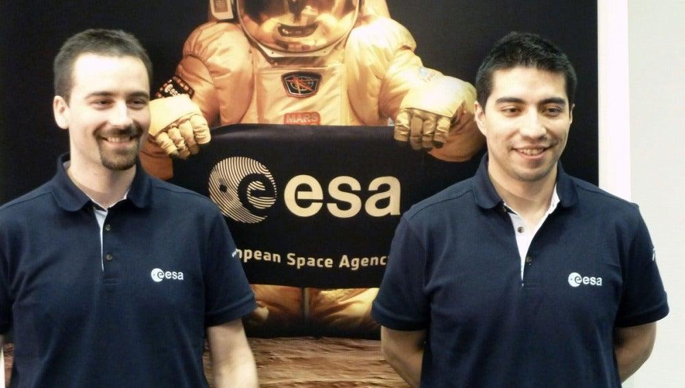 Los astronautas Romain Charles y Diego Urbina