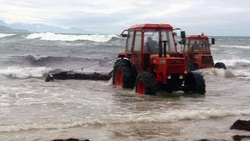 Recolectores de algas en una playa del Cantábrico