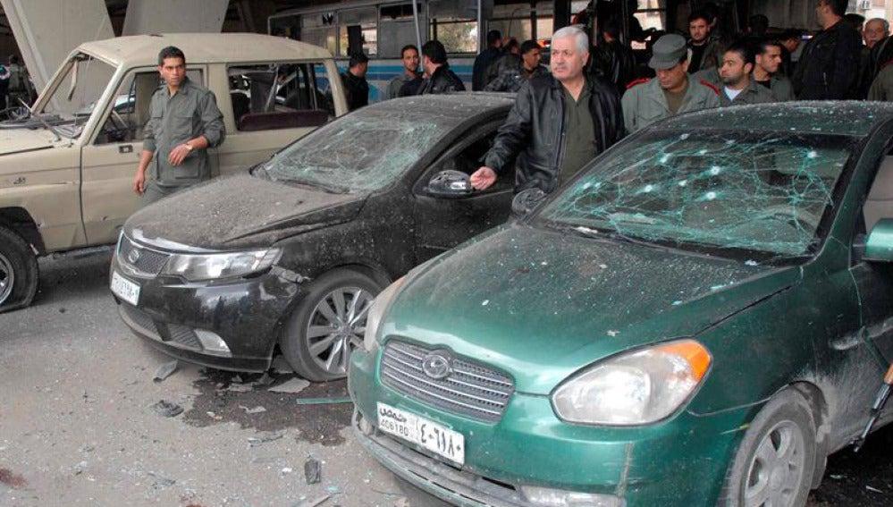 Imagen del atentado con 25 muertos en Damasco