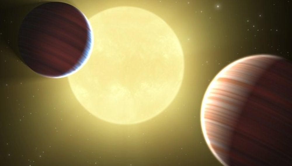 Dos planetas que orbitan alrededor de dos soles