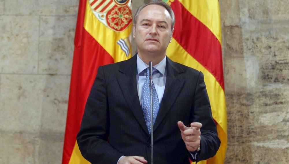 Alberto Fabra durante la rueda de prensa