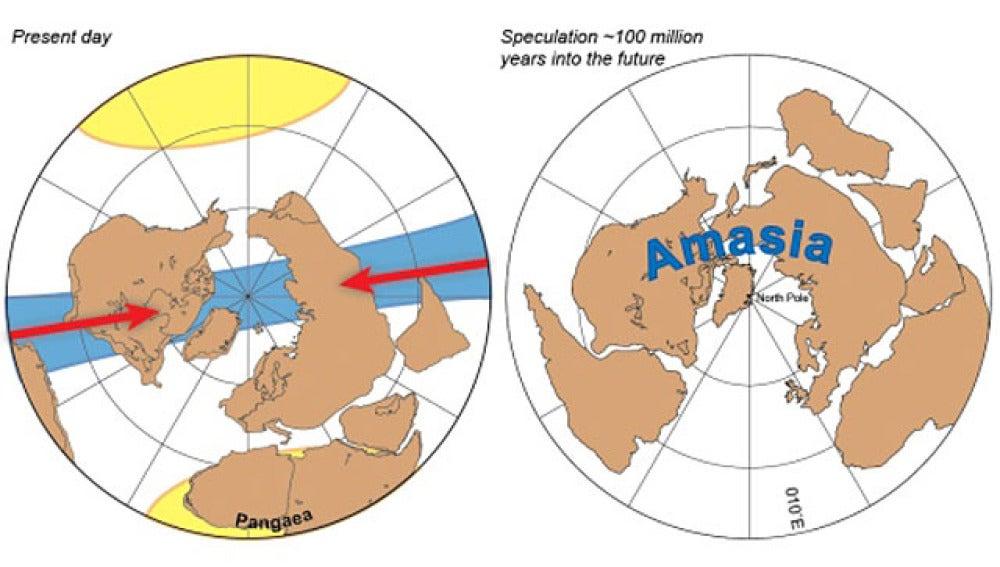 Recreación del futuro continente Amasia