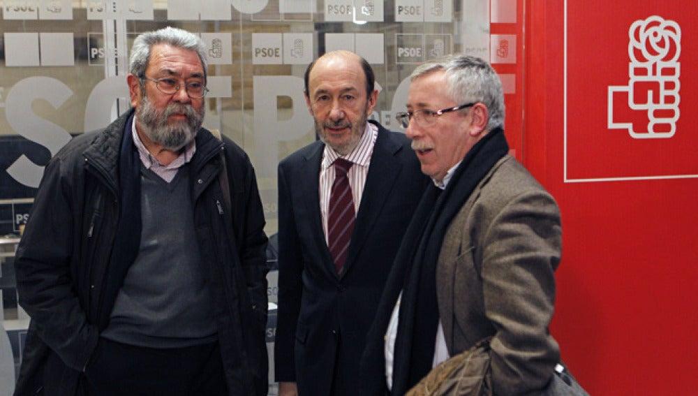 Cándido Méndez, Alfredo Pérez Rubalcaba y Fernández Toxo