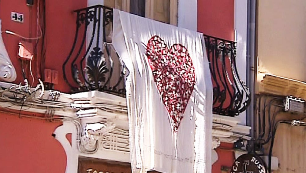 Balcones de corazones en Valencia.
