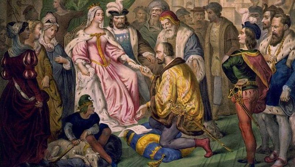 Isabel la Católica en uno de los encuentros con Cristobal Colón