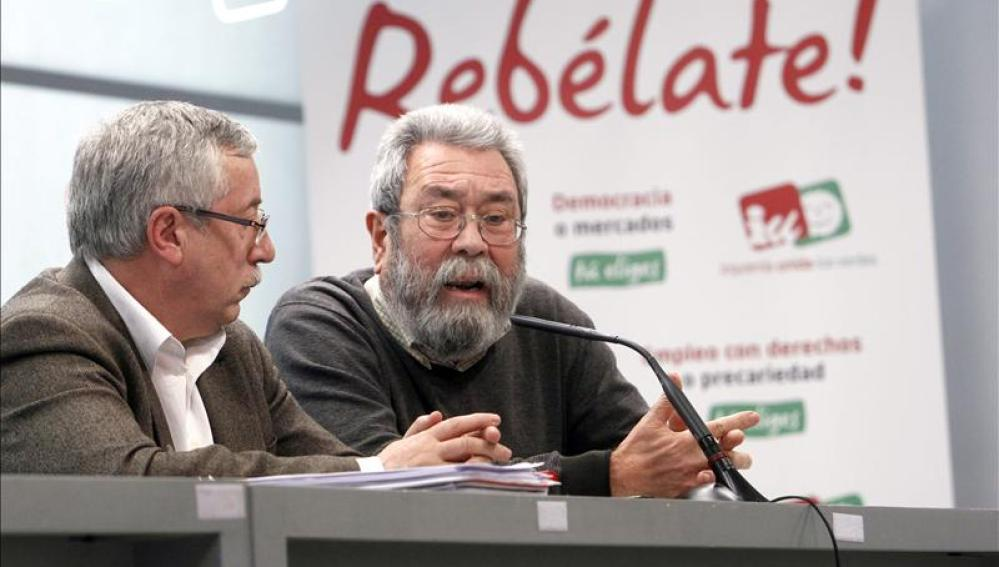Cándido Méndez, secretario general de UGT e Ignacio Fernández Toxo, responsable de CCOO