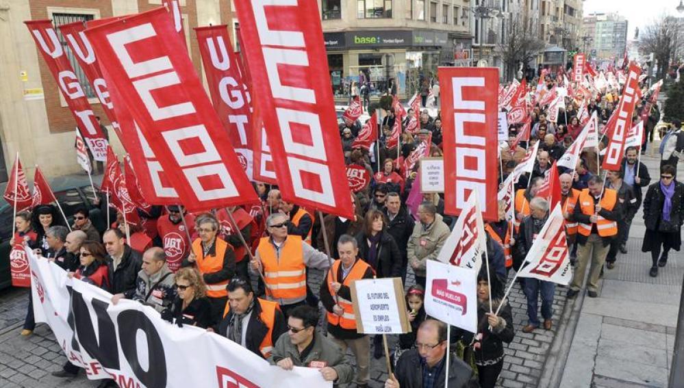 Manifestación en León contra la reforma laboral