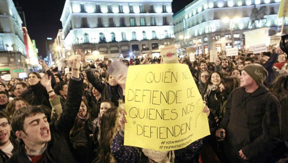 Protestas en el centro de Madrid