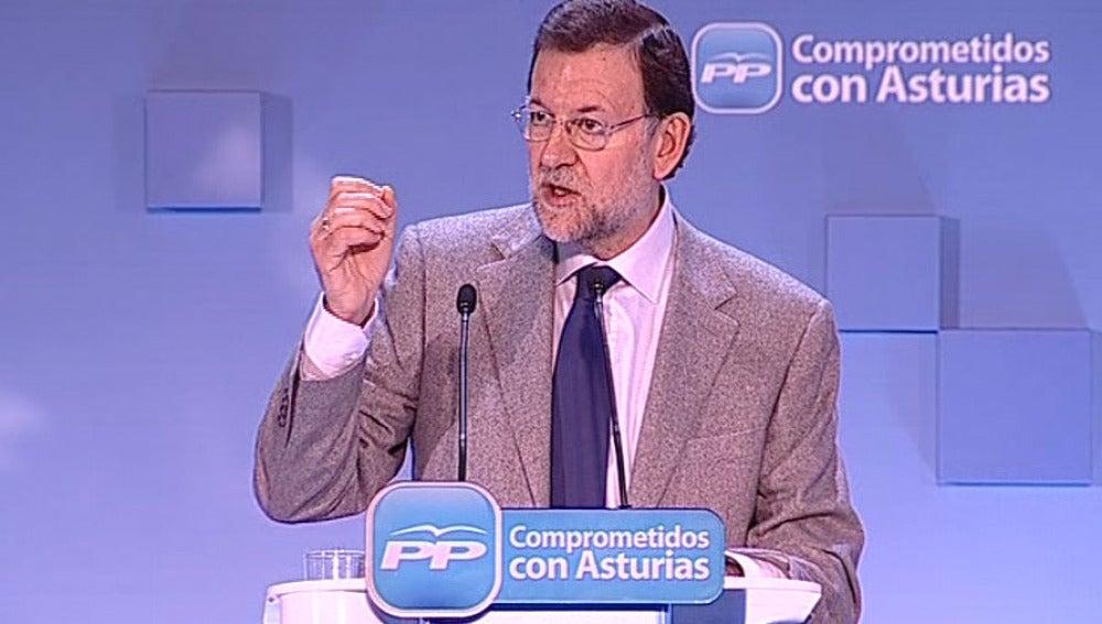 Mariano Rajoy en el acto de Oviedo