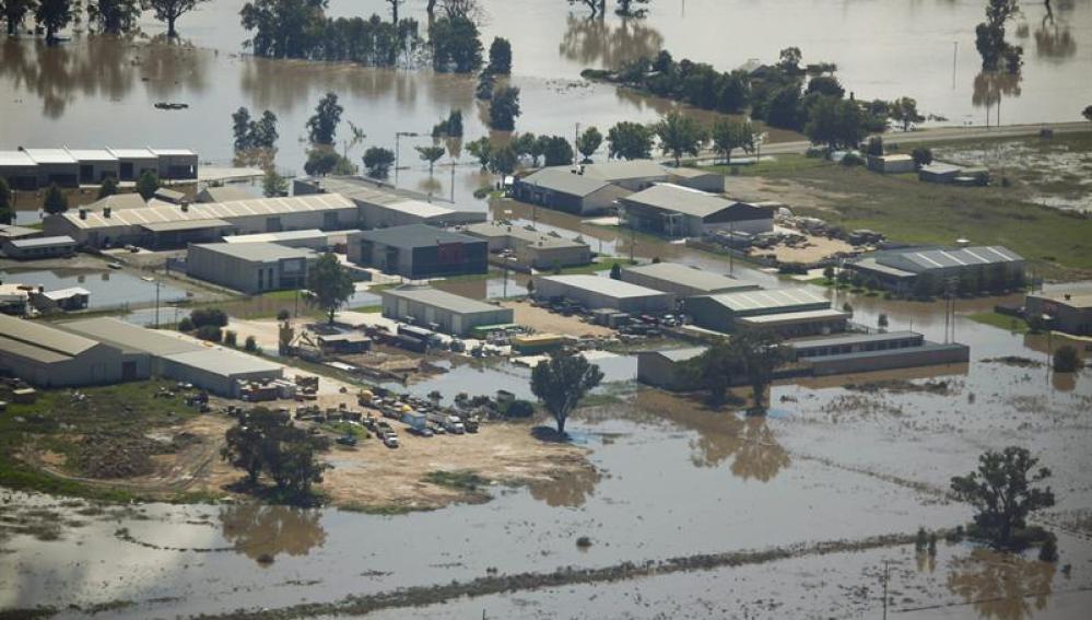 Aspecto de las zonas inundadas en Wagga Wagga