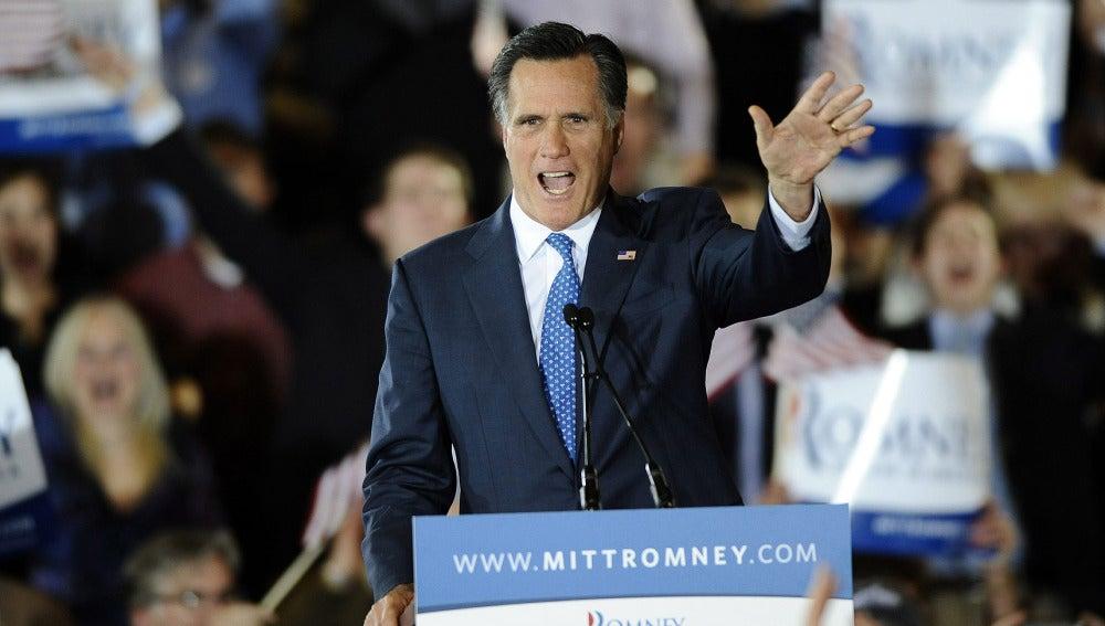 Mitt Romney durante el 'supermartes' en Boston