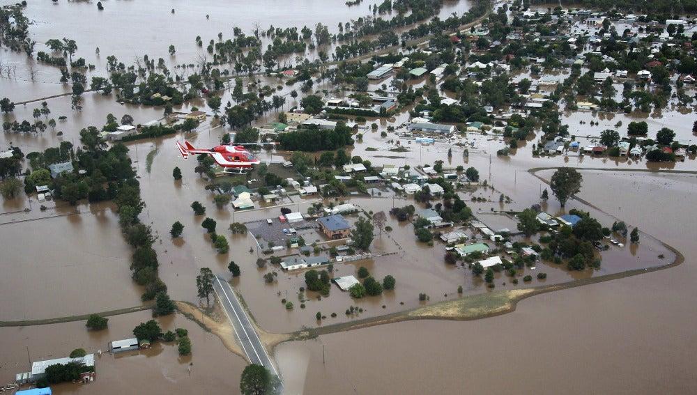Vista de Wagga Wagga bajo el agua