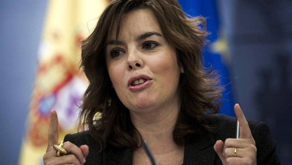Sáenz de Santamaría en la rueda de prensa tras el Consejo