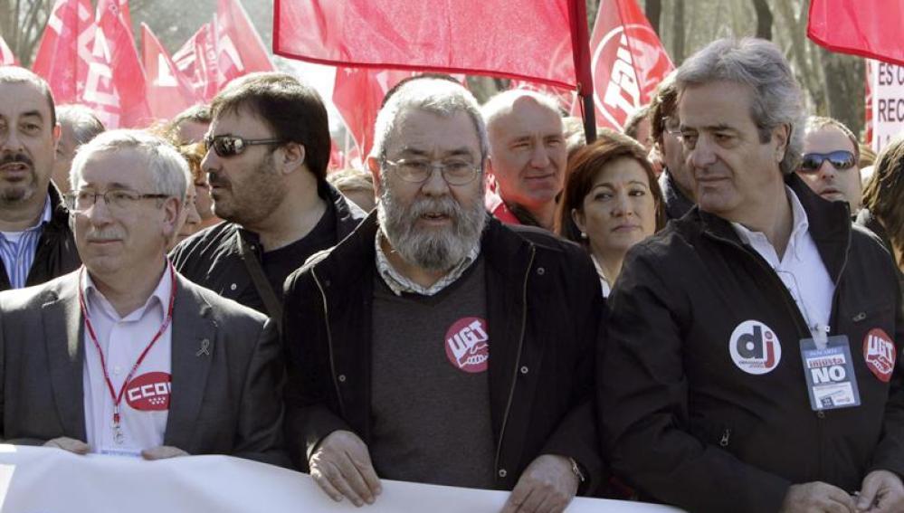 Fernández Toxo y Cándido Méndez en la manifestación de Madrid