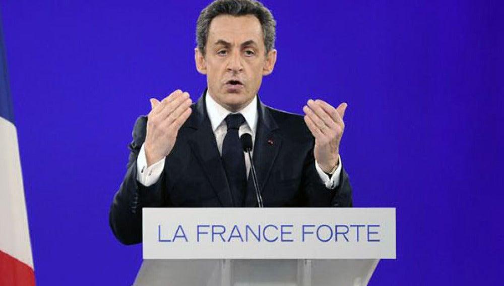 Sarkozy, durante un mitín