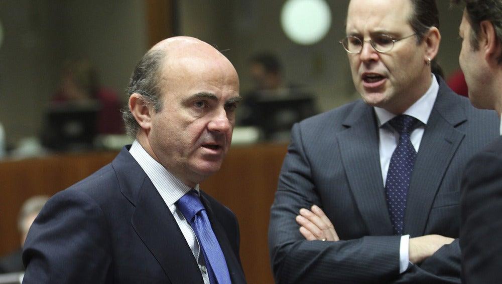 El ministro de Economía, Luis de Guindos, en Bruselas