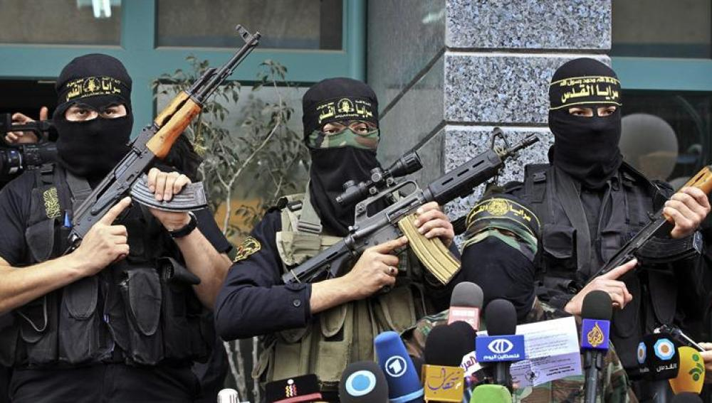 Milicianos de la Yihad Islámica comparecen ante los medios en Gaza