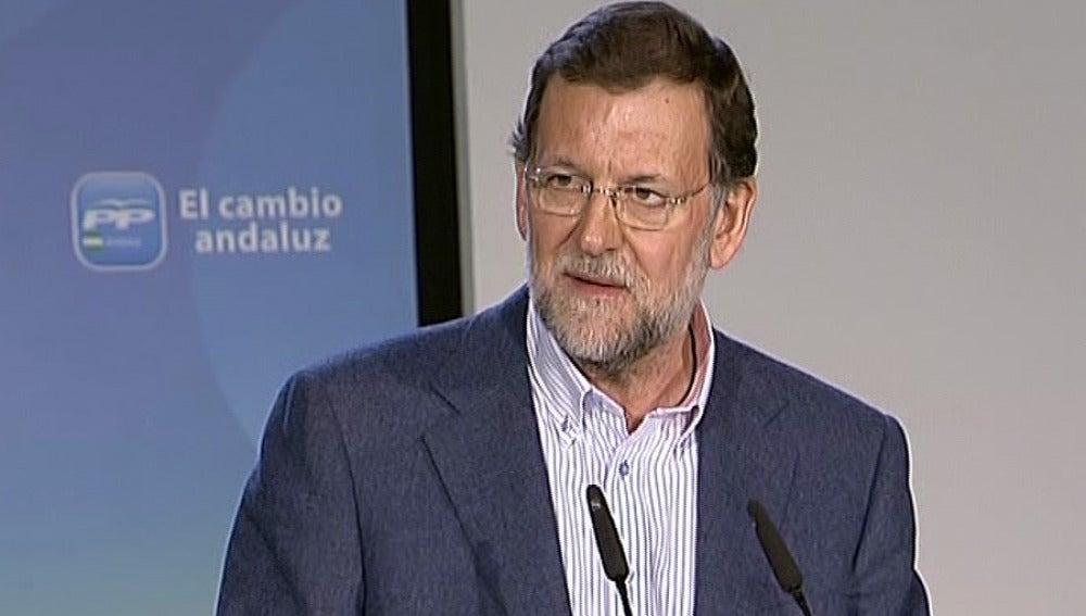 Mariano Rajoy en un mitin electoral