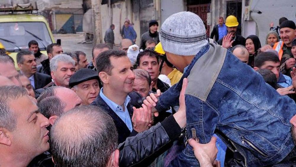 Al Assad en el barrio Baba Amr