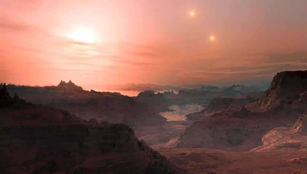 Recreación artística de una puesta de sol en la súper-Tierra 667 Cc
