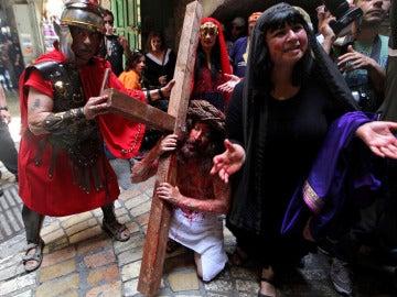 Recreación de la pasión de Cristo en Jerusalén