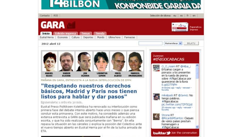 Entrevista a ETA en el diario Gara