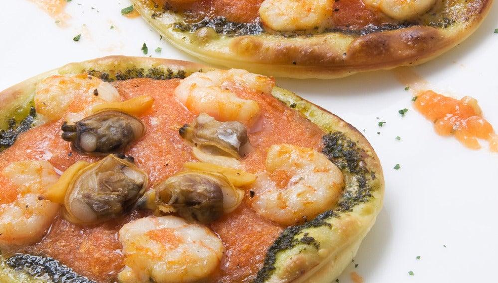 Mini pizzas de gambas