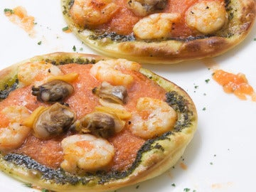 Mini pizzas de gambas