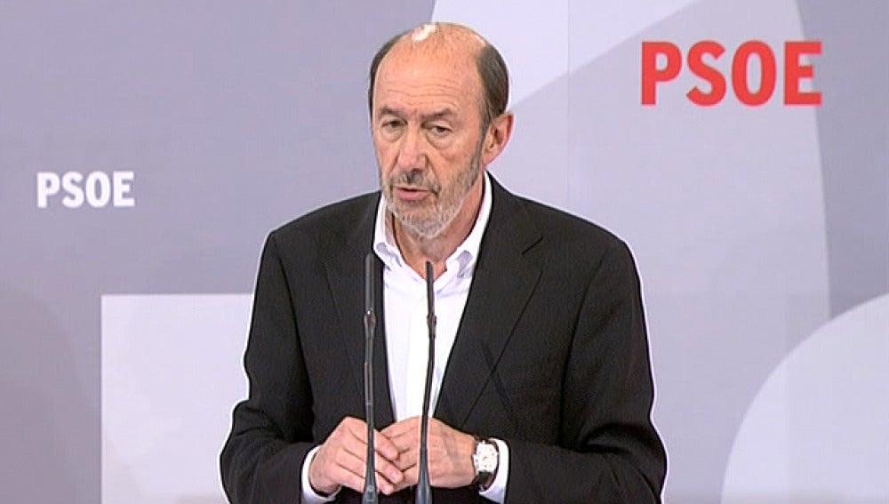 Alfredo Pérez Rubalcaba, en un acto en Pamplona