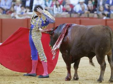 """El torero Manuel Jesús """"El Cid"""" se adorna ante su segundo toro"""