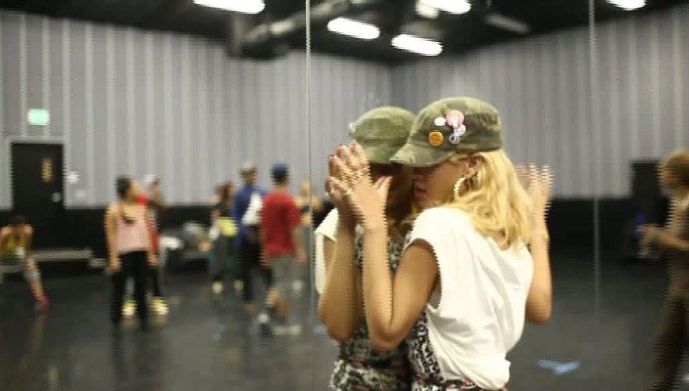 Rihanna, en la grabación de su último vídeo