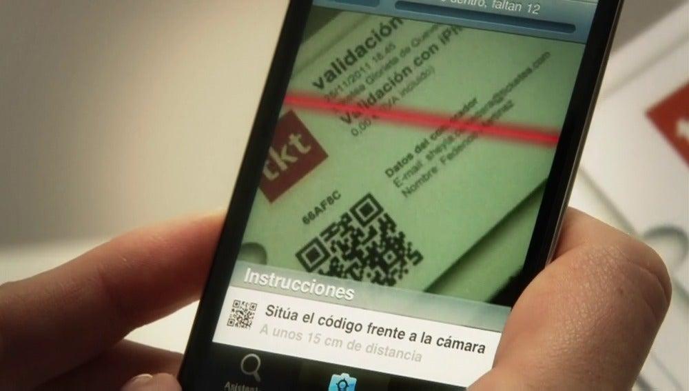 La app CheckPoint escaneando una entrada