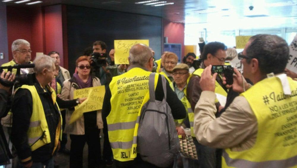 """Los """"yayoflautas"""" en una acción anterior en Barcelona."""