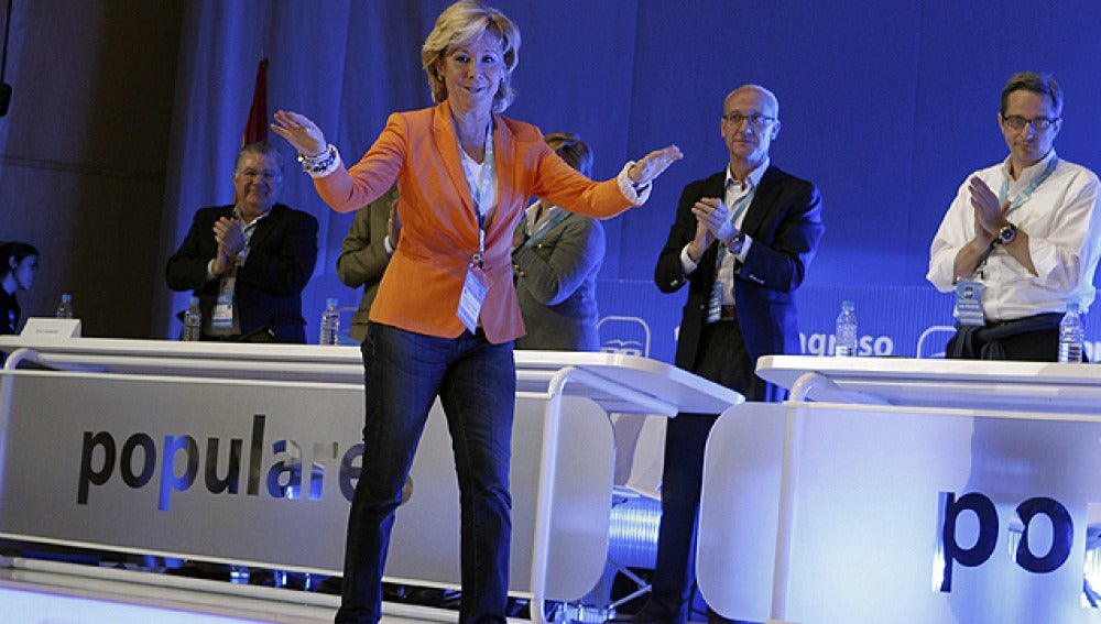 Esperanza Aguirre, en el plenario del congreso del PP de Madrid