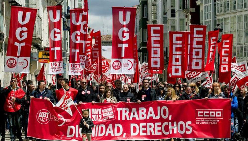 Manifestación sindical en Burgos