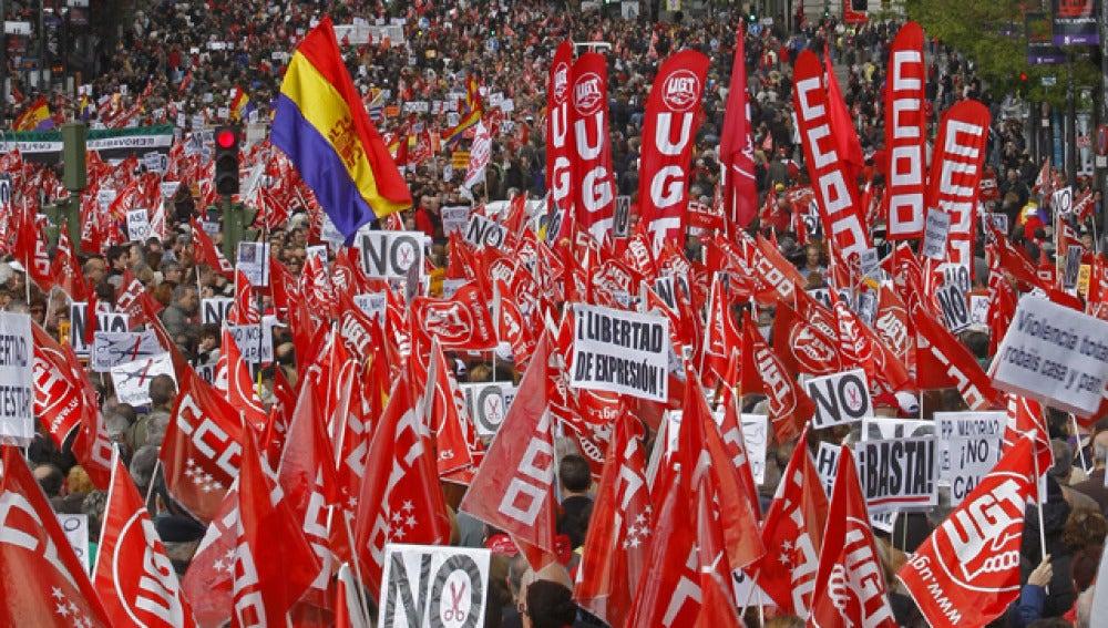 Manifestaciones en Madrid el 1 de mayo 2012