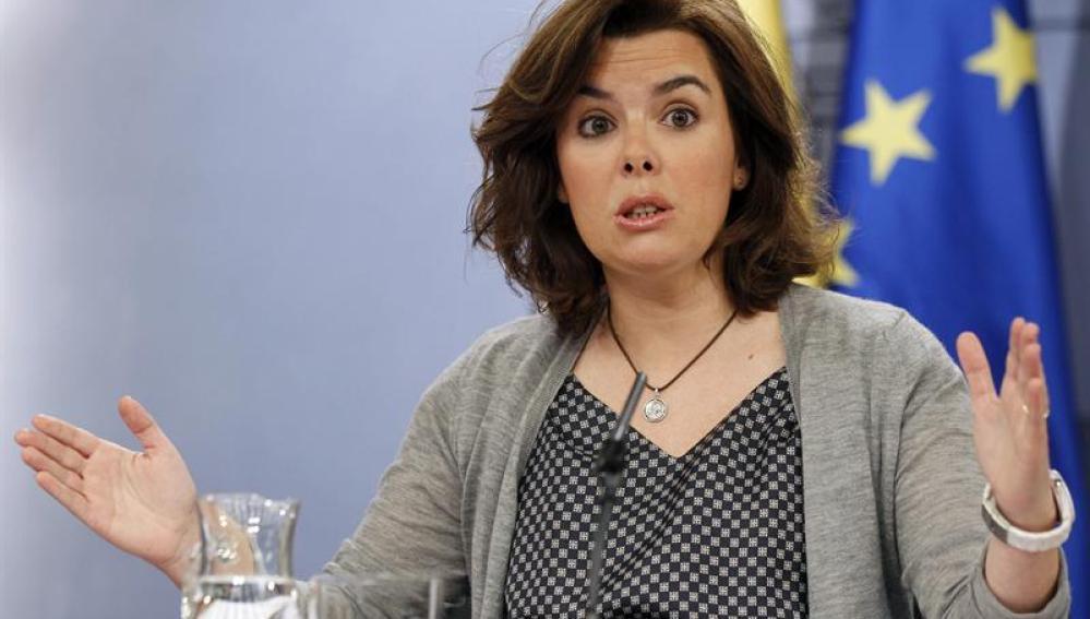 Soraya Sáenz de Santamaría tras un Consejo de Ministros