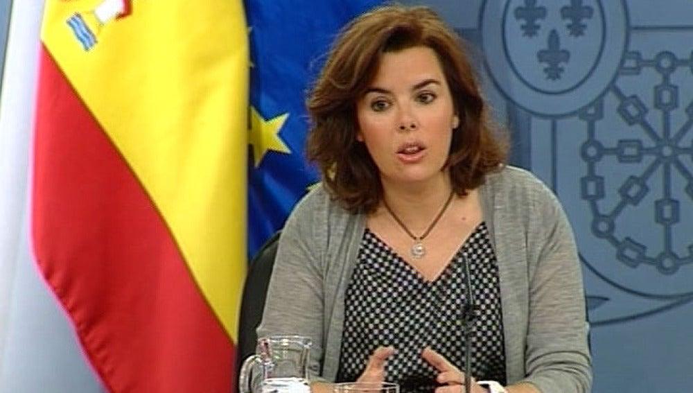 Soraya Sáenz de Santamaría, en Consejo de Ministros