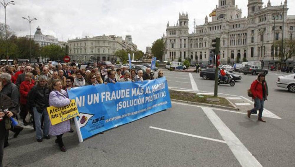 Manifestación en Madrid para pedir una agilización del fraude de Fórum y Afinsa