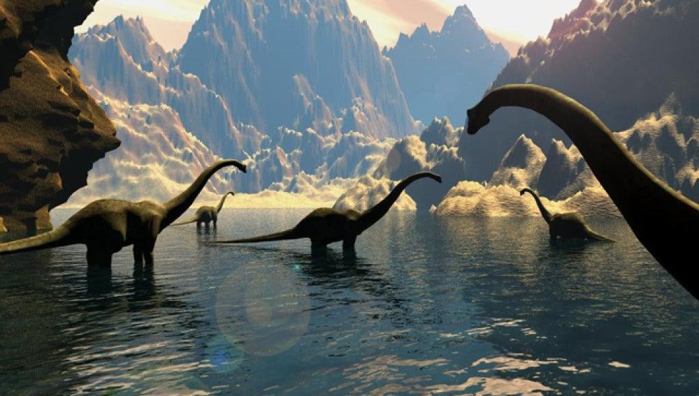 Recreación de unos saurópodos