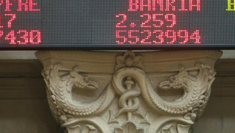 Panel que muestra la cotización de Bankia