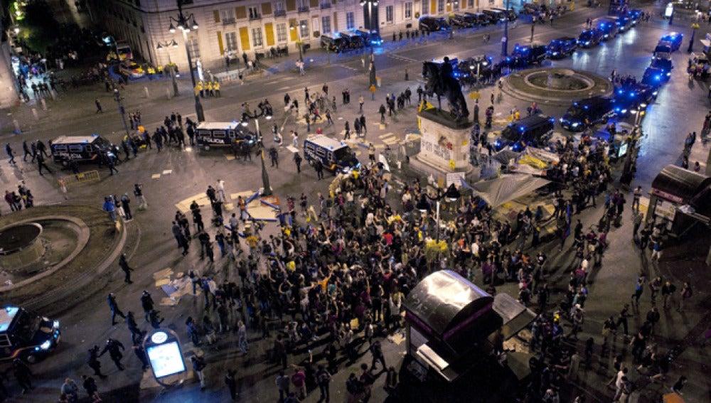 La Puerta del Sol, con los últimos 'indignados'