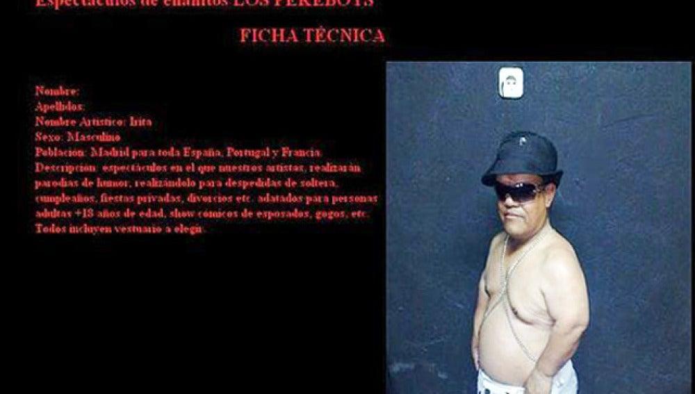 Ficha técnica del detenido en la empresa de animación en la que trabajaba.