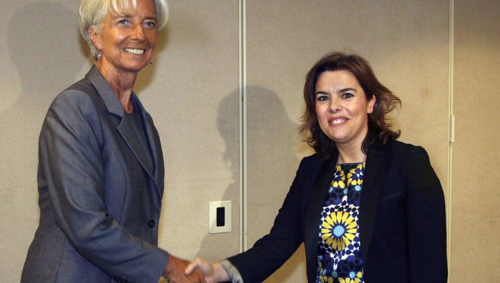 Soraya Saénz de Santamaría en Washington junto a Christine Lagarde