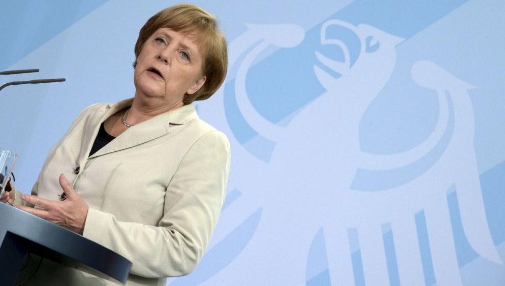 Angela Merkel durante una comparecencia